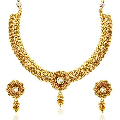 Meenaz Jewellery Gold plated Jewellery Set with Ear rings Traditional One gram Copper Pearl Kundan Pendant Necklace Set Earrings For Women-181