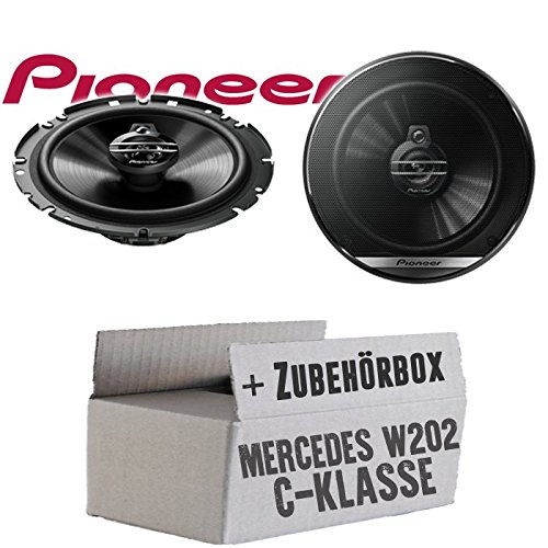 Lasse W202 Ablage - Lautsprecher Boxen Pioneer TS-G1730F - 16cm 3-Wege Koax Paar PKW 300WATT Koaxiallautsprecher Auto Einbausatz - Einbauset für Mercedes C-Klasse JUST SOUND best choice for caraudio