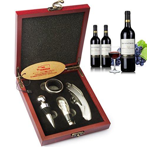 yobansa Wein Zubehör Set in Holzbox, Wein Korkenzieher Kit, Bier Flaschenöffner und Stopper Set Reddish MDF box steel 4 pcs