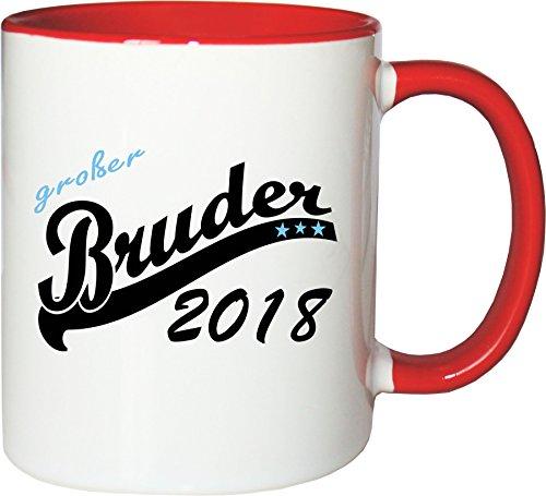 Mister Merchandise Kaffeebecher Tasse Großer Bruder 2018 0 Teetasse Becher Weiß-Rot