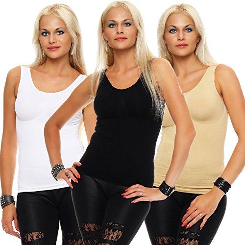 Slim -Fit Unterhemd Mieder Damen Bauchweg-Shirt Ripp Unterwäsche 09731 Black