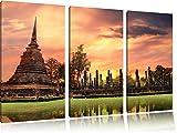 Buddha Tempel im Sonnenuntergang 3-Teiler Leinwandbild 120x80 Bild auf Leinwand, XXL riesige Bilder fertig gerahmt mit Keilrahmen, Kunstdruck auf Wandbild mit Rahmen, gänstiger als Gemälde oder Ölbild, kein Poster oder Plakat