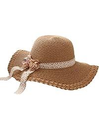 Hosaire 1x Sombrero de Paja Encaje Flor Sombreros del Sol para bebé para  Gorras de Visera UPF 50+ Protección UV Verano Playa Gorro Size 52… fd81b4ea457