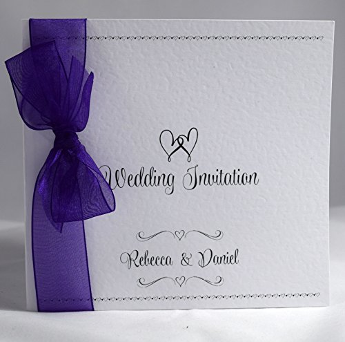 invitations by shell windsor wishes personalised sidefold wedding invitations with ribbon packs of 10 purple organza - Purple Wedding Invitations