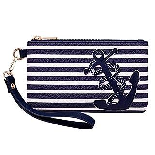 PU Leather Anchor Purse Wristlet Coin Pouch Handbag Clutch Bag 8.5