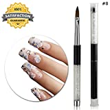 8# Clear Rhinestone Kolinsky Acrylic Brush Acrylic Metal Handle Nail Art Design Paint Pen Manicure Tool for Nails Sculpting (Size 8) By TPnail