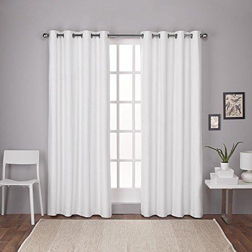 Exclusive Home Vorhänge London Strukturierte Leinen Tülle Thermal Top Fenster Vorhang Panel Paar, Winter, weiß, 54x 96cm, 2-teilig (Weißes Leinen Vorhänge 96)