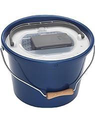 Plastilys Seau à vif avec panier vivier + aérateur intégré Bleu Métal 18 L