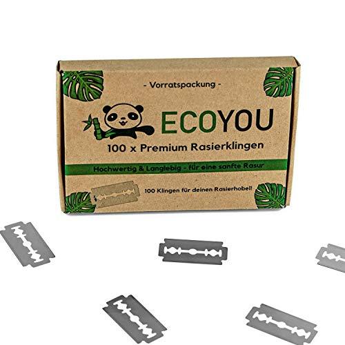 EcoYou® Premium Rasierklingen für Rasierhobel set 100 Klingen ✮ rostfreie Ersatzklingen für Rasierhobel Damen und Herren ✮ Hochwertige Rasier Klingen langlebig - Razor Blades