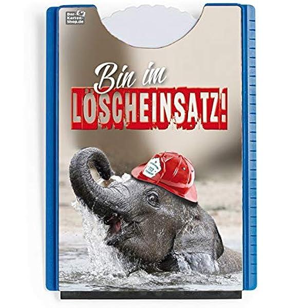 Der Karten Shop De Fun Spaß Motiv Parkscheibe Mit Eiskratzer Und Gummilippe Elefant Mit Feuerwehrhelm Bin Im Löscheinsatz Auto