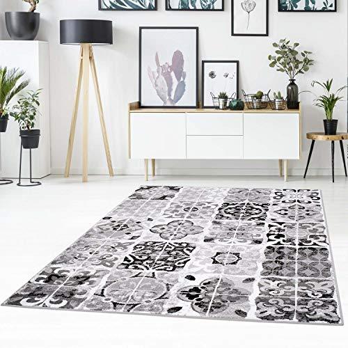 Läufer Läufer Floral (Teppich-läufer Flachflor mit Patchwork-Muster, Ornamenten, Florale Verzierungen in Grau, Schwarz für Wohnzimmer Größe 80/300 cm)
