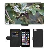 Just carcasa caliente estilo ranura de tarjeta de teléfono celular Funda de piel sintética//m00139111Caterpillar mariposa oruga//Apple iPhone 6Plus 5.5'