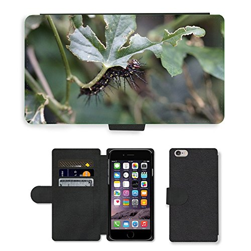 Just Mobile pour Hot Style Téléphone portable étui portefeuille en cuir PU avec fente pour carte//m00139111Caterpillar papillon chenille//Apple iPhone 6Plus 14cm
