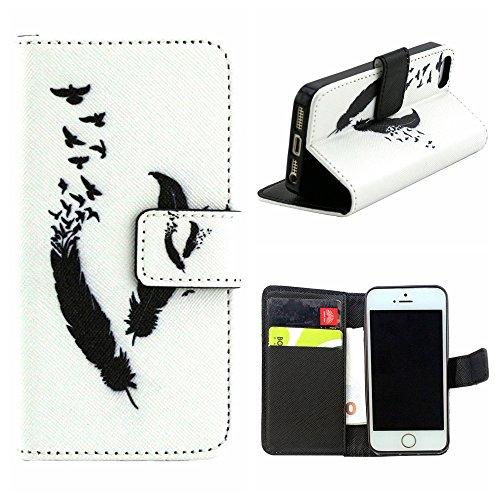 EUDTH iPhone SE Coque Peinture Style Housse Flip Cover Portefeuille Etui en Cuir de Protection Case vec B¨¦quille pour iPhone 5 / 5S / iPhone SE -YH06 YH04
