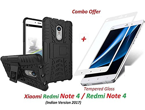 Goelectro Xiaomi Redmi Note 4 / Redmi Note 4 / Mi Redmi Note 4 (COMBO OFFER) Hybrid Armor Design Detachable and Stand-up Feature Dual Layer Protective Shell Hard Back Cover Case for Redmi Note 4 + 2.5D curved 3D Edge to Edge Full Screen Tempered Glass Mobile Screen Protector - - - ( White )