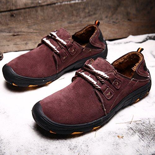 Yiiquan Homme Hiver Mouvement Conduire Voiture Sur Confort PU Cuir Mocassins Loisir À pied Chaussures Vin Rouge