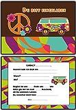 Einladungskarten Kindergeburtstag Hippie Retro Flower Power - 10 Stück Einladung EInladungen Geburtstagseinladungen Peace Kinder Erwachsene Jungen Mädchen Mann Frau
