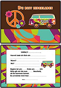 einladungskarten kindergeburtstag hippie retro flower power 10 st ck einladung einladungen. Black Bedroom Furniture Sets. Home Design Ideas
