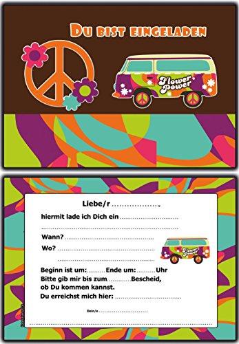 (Einladungskarten Kindergeburtstag Hippie Retro Flower Power - 10 Stück Einladung EInladungen Geburtstagseinladungen Peace Kinder Erwachsene Jungen Mädchen Mann Frau)