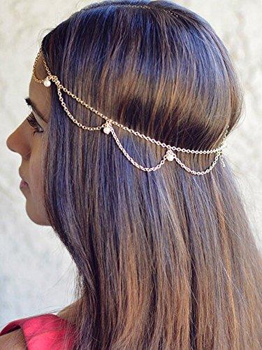 aukmla Head Kette Schmuck Gothic Quasten Haar Band Metall Stück Headbands für Frauen und Mädchen