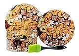 Viva-Haushaltswaren - 3 Keksdosen / Gebäckdosen / Weihnachtsdosen Ø 20, 17, 14 cm - inkl. 1 Backpinsel