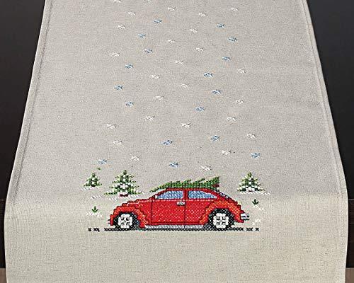 KAMACA Stickpackung On The Road Kreuzstich Steppstich vorgezeichnet Baumwolle und Leinen Stickset mit Stickvorlage Weihnachten (Tischläufer 35x95 cm)