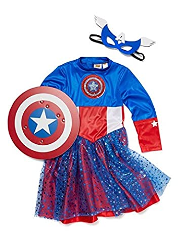 Officially Licensed Marvel Comics American Dream Captain America Superhero Girls Costume Made for TU Collection Age 9-10