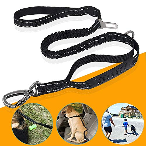 Hundeleine Hunde Sicherheitsgurt für Auto, Reflektoren massiv geflochten und verstellbar in 3 Längen - für große und kräftige Hunde geeignet - Hundeführleine, Dopelleine - 2m