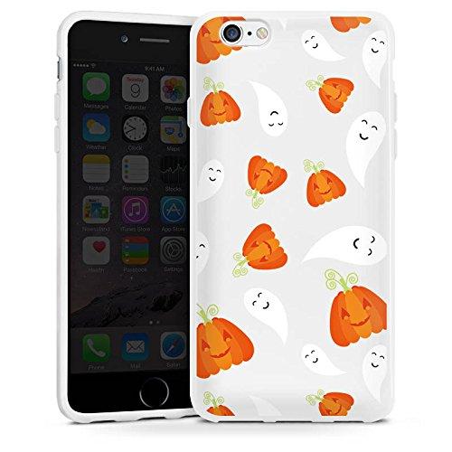 Apple iPhone 4 Silikon Hülle Case Schutzhülle Kürbis und Gespenster Halloween Muster Silikon Case weiß