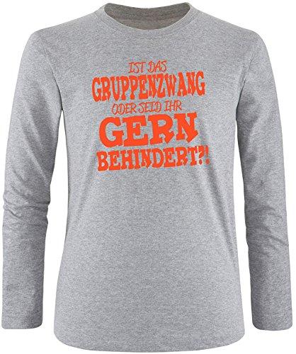 EZYshirt® Ist das Gruppenzwang oder seid ihr gern behindert Herren Longsleeve Grau/Orange