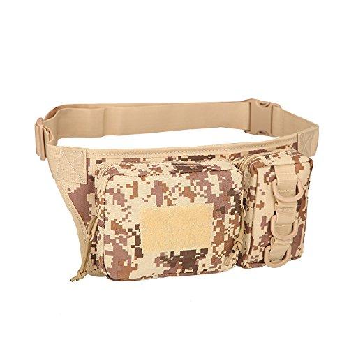 Inovey Sport Outdoor Waist Bag 3P Molle Camouflage Telefono Borsa Utilità Confezione Sacchetto Campeggio Escursionismo - Khaki Deserto digitale