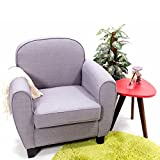 WEIBO Linen Fabric Armchair Tub Chair Single Seat for Dining Living Room Furniture, Grey