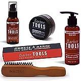 ✮ BARBER TOOLS ✮ Kit de barba cosmética - Cepillo de barba + Oil para barba 50ml + Bálsamo para barba - 50ml + Champú para barba 150ml | Para el mantenimiento y cuidado de la barba - MADE IN FRANCE