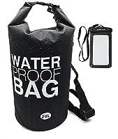 Langxun Waterproof Dry Bag, 500D PVC Fabric,10L, 20L for Diving, Kayaking, Swimming, Boating, Fishing, Camping, Canoeing, Rafting, Snowboarding | Watertight Roll-Top Closure & Detachable Adjustable Shoulder Strap (BLACK, 10L)