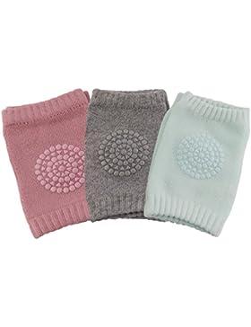 3 Paare Baby Mädchen Knieschoner, SWEETBB Baby Knieschützer mit Gummipunkte anti-Rutsch, 0 -2 Jahre