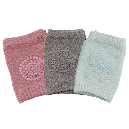 3 Paare Baby Mädchen Knieschoner, Baby Knieschützer mit Gummipunkte anti-Rutsch, 0 -2 Jahre (über Knie-hosen-socken)