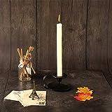 GoMaihe 2er Set Vintage Kerzenständer mit Griff, 11x6cm Kerzenhalter Stabkerze Hoch Eisen Deko Kerzenleuchter, Kerzen Ständer für Valentinstag Weihnachts Halloween Hochzeit Zuhause Essen, Schwarz - 5