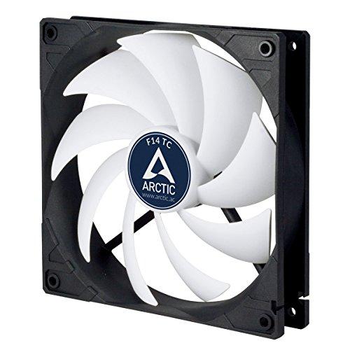 Arctic F14 TC - Temperaturgesteuerter 140 mm Gehäuselüfter | Standard Case Fan | Temperatursensor reguliert RPM | Push- Oder Pull-Konfiguration