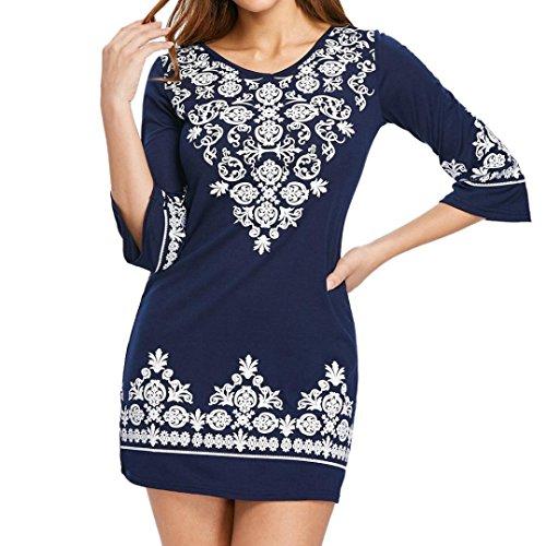 OYSOHE Damen Kleid Casual Halbarm Ethnische Print V-Ausschnitt Shift Baumwolle Minikleid - Ethnische Print Kleid