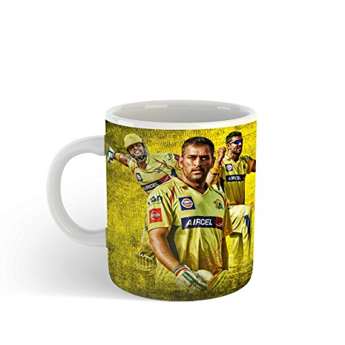Gen7 Ceramic MS Dhoni Coffee Mug | Captain Cool | MSDian Fans | IPL | Chennai Super Kings - CSK | Dhoni, Raina & Jadeja