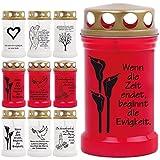 Grablicht Grabkerze Öllicht mit Spruch und Bild - 9 Motive - Tagebrenner Ersatzkerze Auswahl: rot mit Calla