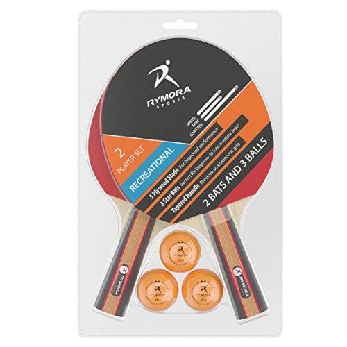 Rymora Tischtennis-Set für 2Spieler (2Schläger und 3Bälle) (ideal für Schule, Zuhause, Sportclub, Büro), Recreational Play (Special Price)