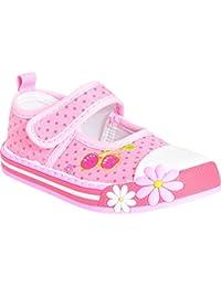 4b7f7bc00bbd19 Minis Mädchen Babys Kinder Rosa Kirsche Blume Polka Dot Velcro Pumpen  Trainer Schuhe Größe 4-