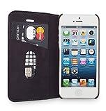 """WIIUKA Echt Ledertasche """"TRAVEL"""" Apple iPhone 5 / 5S / SE Hülle mit Kartenfach Schwarz extra Dünn Premium Design Leder Tasche Case - 2"""