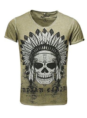 37e40295f0ed36 Key Largo Herren T-Shirt Indian Skull Print Vintage Look Totenkopf Indianer  Apache USA Khaki
