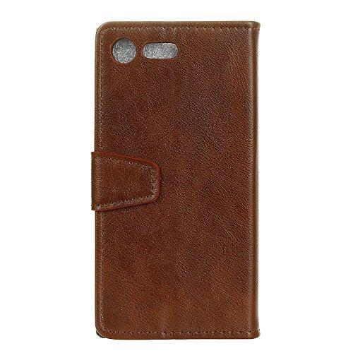 Crazy Horse Texture Pattern Faux Ledertasche Bookstyle Horizontale Flip Stand Case mit Card Slots für Sony Xperia XZ1 ( Color : Brown ) Brown