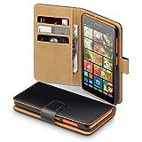 Microsoft Lumia 535 Case, Terrapin Handy Leder Brieftasche Case Hülle mit Kartenfächer für Microsoft Lumia 535 Hülle Schwarz mit Hellbraun Interior
