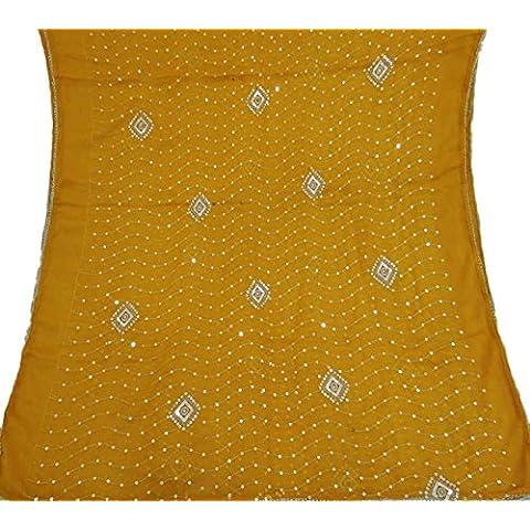 Indiano Vintage Dupatta Sciarpa puro chiffon ricamato giallo Veil Stola