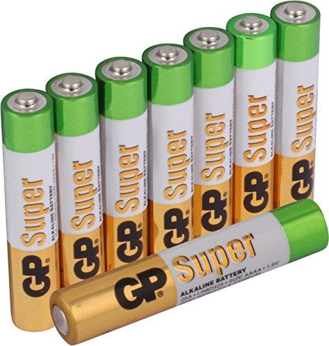 Batterien Typ AAAA / Mini / LR61 Super Alkaline, geeignet z.B. für Stylus Pen Surface Pro u.v.m. 8 Stück Sparpack [hohe Leistung & lange Haltbarkeit, Markenprodukt GP Batteries)