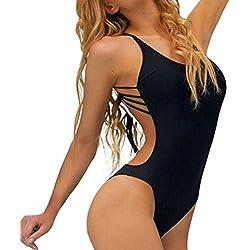 Bikinis Sexy de mujer trajes de baño mujer una pieza Bañadors Señoras Biquinis natación niña tankinis Vestidos de Baños Lencería Ropa de playa Mujer Amlaiworld (Negro, M)